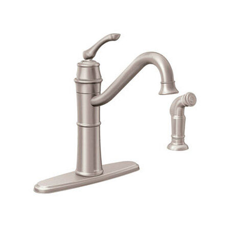 Moen Wetherly One Handle Stainless Steel Kitchen Faucet Side Sprayer Included