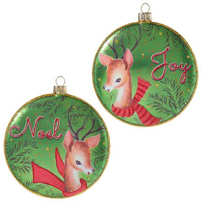 "4"" Reindeer Disc Ornament"