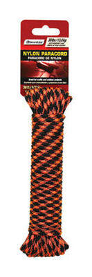 SecureLine 5/32 in. Dia. x 50 ft. L Braided Nylon Paracord Black/Orange