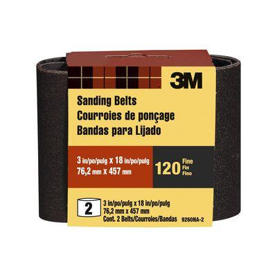 3M Sanding Belt 3 in. W x 18 in. L 120 Grit Fine 2 pk