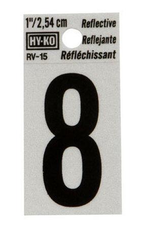 Hy-Ko Self-Adhesive Black Reflective Vinyl Number 8 1 in.