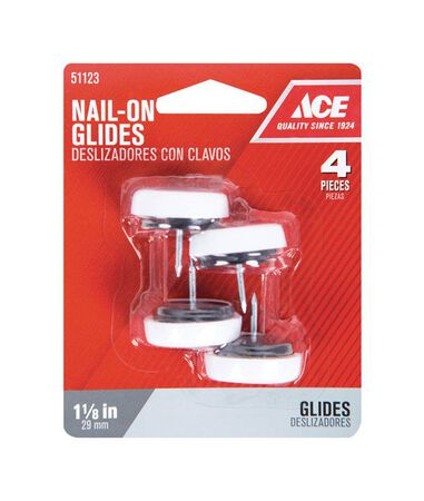 Ace 1.13 in. Dia. x 1.13 in. W Plastic / Nylon 4 Nail-On Cushioned Glide with Plastic Base