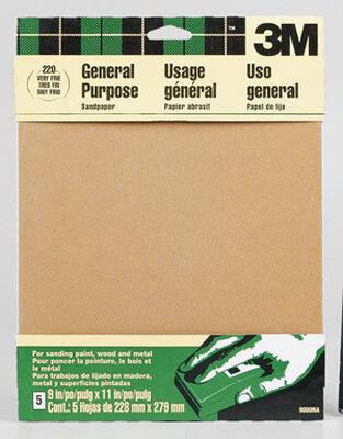 3M Aluminum Oxide Sandpaper 11 in. L 220 Grit Very Fine 5 pk