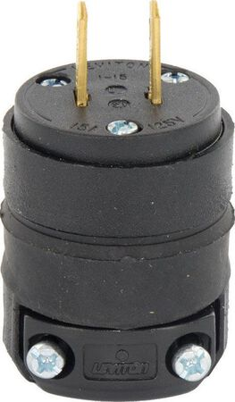 Leviton Residential Rubber Non-Grounding Straight Blade Plug 1-15P 18-12 AWG 2 Pole 2 Wire B