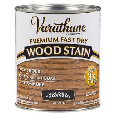 Varathane Premium Fast Dry Semi-Transparent Oil-Based Wood Stain Golden Mahogany 1 qt.