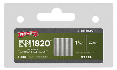 Arrow BN1820 18 Ga. x 1-1/4 in. L Galvanized Steel Finish 1000 pk Brad Nails