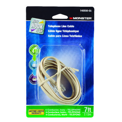 Monster Cable 7 ft. L Ivory Modular Telephone Line Cable