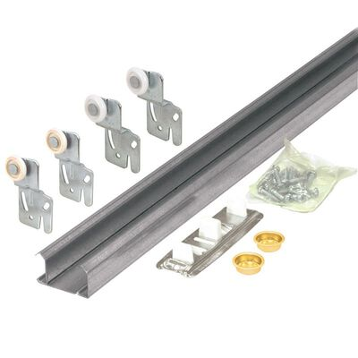 Prime Line Galvanized Surface mount By-Pass Door Hardware Set 1 pk