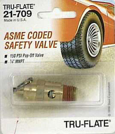 Tru-Flate Brass Safety Valve 1/4 in. NPT Male