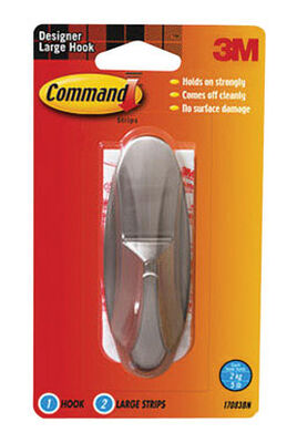 3M Command Large Designer Hook 4-1/8 in. L Metal 5 lb. 1 pk