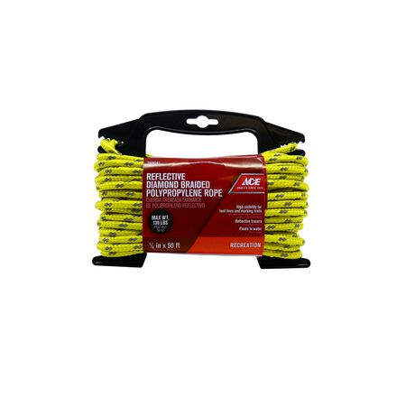 Ace 1/4 in. Dia. x 50 ft. L Yellow Diamond Braided Poly Rope