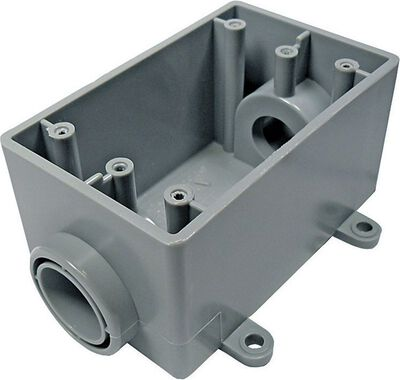 Cantex 2-1/4 in. H Rectangle 1 Gang Outlet Box 3/4 in. Gray PVC