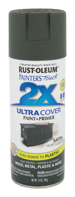Rust-Oleum Painter's Touch Ultra Cover Hunt Club Green Satin 2x Paint+Primer Enamel Spray 12 oz