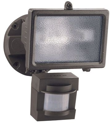 Heath Zenith Security Spotlight Metal Bronze Motion-Sensing Halogen 150 watts