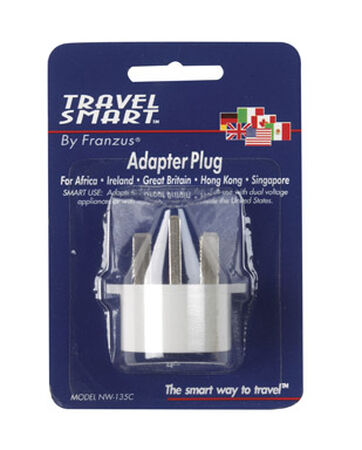 Travel Smart White Type G For Worldwide International Adapter Plug In