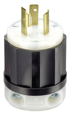 Leviton Industrial Nylon Grounding Locking Plug L6-20P 2 Pole 3 Wire Black/White