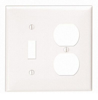 Leviton 2 gang White Nylon Toggle/Duplex Wall Plate 1 pk