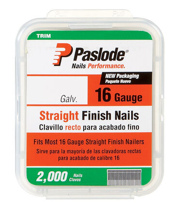 Paslode 1-1/4 in. L 16 Ga. Galvanized Straight Finish Nails 2 000 pk