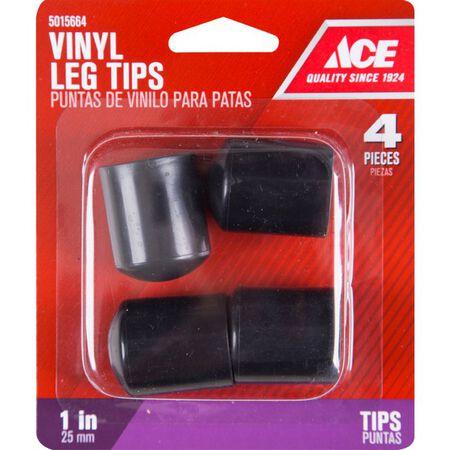Ace Vinyl Round Leg Tip Black 1 in. W 4 pk