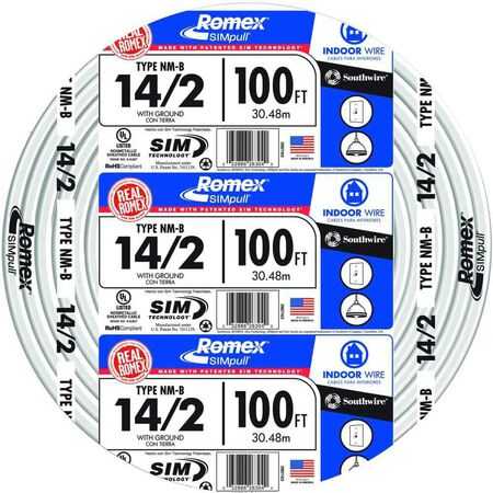 Southwire 100 ft. 14/2 Romex Type NM-B WG Non-Metallic Wire White