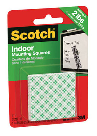 Scotch 1 in. W Indoor Mounting Squares White