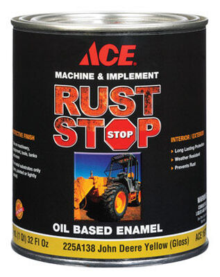 Ace Interior/Exterior Rust Stop Oil-based Enamel Paint John Deere Yellow Gloss 1 qt.