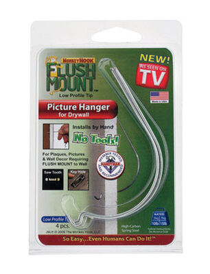 Monkey Hook 10 lb. Steel Flush-Mount Picture Hanger 4 pk