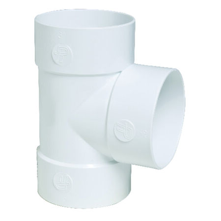 Plastic Trends SDR35 4 in. Dia. x 4 in. Dia. x 4 in. Dia. Sewer To Sewer To Hub PVC Cleanout Tee