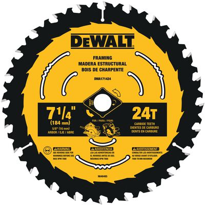 DeWalt 7-1/4 in. Dia. Construction Carbide Tipped Circular Saw Blade 24 teeth