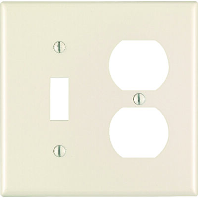 Leviton 2 gang Light Almond Nylon Toggle/Duplex Wall Plate
