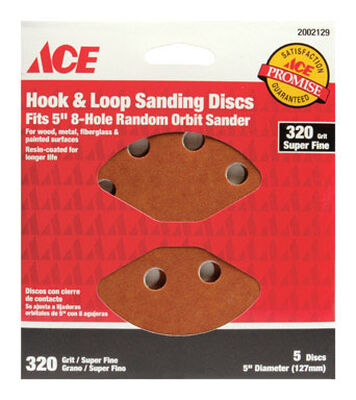 Ace 5 in. Dia. Sanding Disc 320 Grit Super Fine Hook and Loop 5 pk