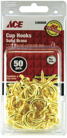 Ace 1 in. L Bright Brass Brass Cup Hook 50 pk