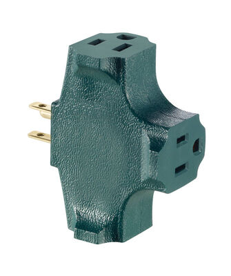 Leviton Grounded Triple Outlet Adapter Green 15 amps 125 volts 1 pk