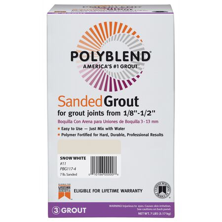 Custom Building Products Polyblend Indoor and Outdoor Snow White Grout 7 lb.