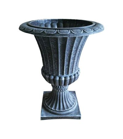 Infinity Gray Poly Ornate Urn Planter 16 in.