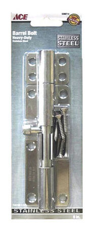 Ace Heavy Duty Barrel Bolt 6 in. Stainless Steel Latches Doors and Cages