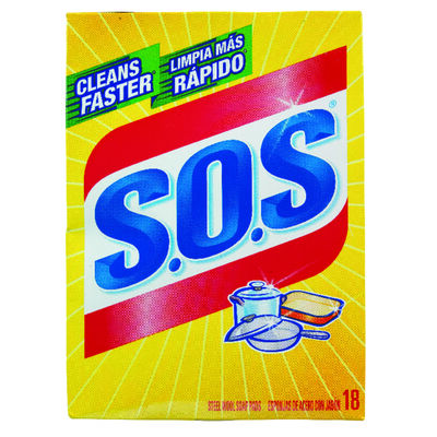 S.O.S. For Multi-Purpose Steel Wool Soap Pads 18 pk