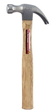 Ace 16 oz. Round Face Hickory Claw Hammer Forged Steel