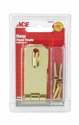 Ace Bright Brass Fixed Staple Safety Hasp 2-1/2 in. L
