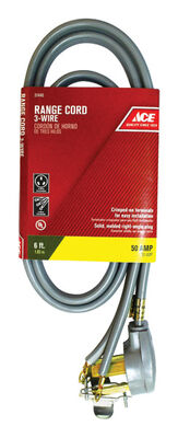 Ace 6/2 8/1 SRDT 250 volts Range Cord 3 Wire 6 ft. L Gray