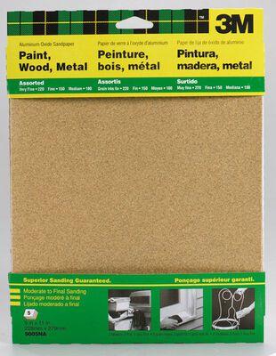 3M Aluminum Oxide Sandpaper 11 in. L 100/150/220 Grit Assorted 5 pk