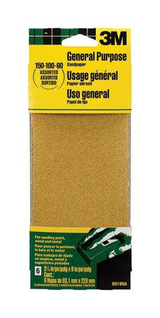 3M Aluminum Oxide Sandpaper 9 in. L 60/100/150 Grit Assorted 6 pk