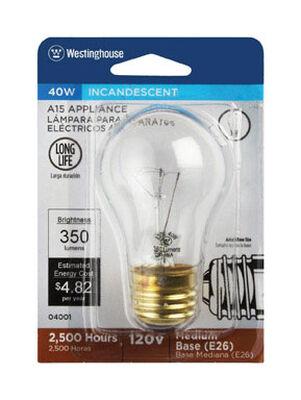 Westinghouse Incandescent Light Bulb 40 watts 350 lumens 2700 K A-Line A15 Medium Base (E26) 1