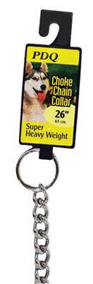 PDQ Chrome Steel 26 in. 4 mm W Choke Chain Dog Collar