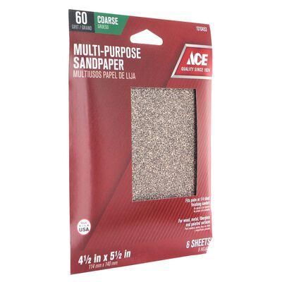 Ace Aluminum Oxide 1/4 Sheet Sandpaper 5-1/2 in. L 60 Grit Coarse 6 pk
