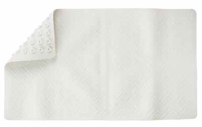 Living Accents 28 in. L x 16 in. W White Thermo Plastic Elastomer Bath Mat Latex Free