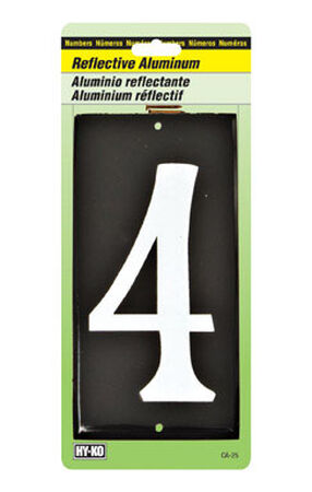 Hy-Ko Nail On White Reflective Aluminum Number 4 3-1/2 in.