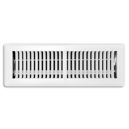 Tru Aire 4 in. H x 14 in. W White Steel Floor Register