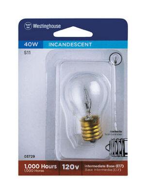 Westinghouse Incandescent Light Bulb 40 watts 355 lumens 2700 K S11 Intermediate Base (E17) Whit