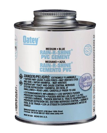 Oatey Rain-R-Shine Blue PVC Cement 8 oz.